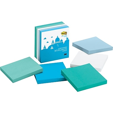 Post-it® Super Sticky 3in. x 3in. Mykonos Color Notes, 5 Pads/Pack