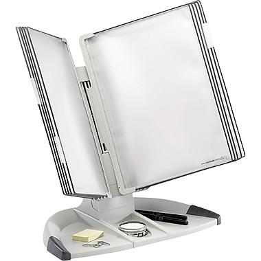 Tarifold TD271 Modular Desktop Document Holder with Desk Organizer on Base, 10 Pockets, Grey Base