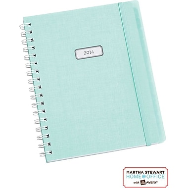 Martha Stewart Home Office™ with Avery™  2014 Wirebound Planning Calendar, Blue Linen, 7in. x 9in.