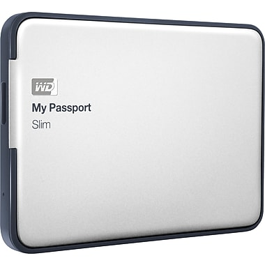 WD 1TB My Passport Slim Portable Hard Drive (Silver),