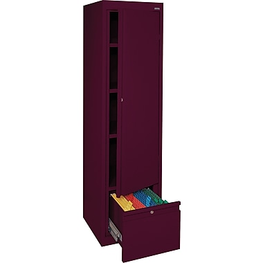 Sandusky® 3 Adjustable Shelves Storage Cabinet with File Drawer, Burgundy