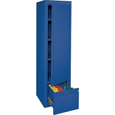 Sandusky® 3 Adjustable Shelves Storage Cabinet with File Drawer, Blue