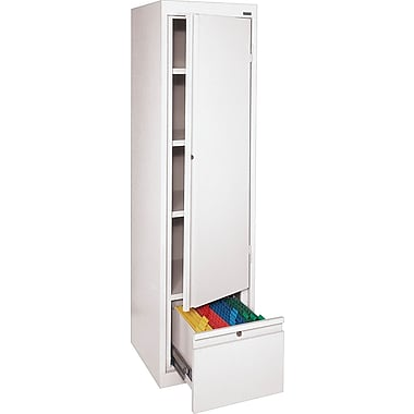 Sandusky® 3 Adjustable Shelves Storage Cabinet with File Drawer, White
