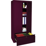 "Sandusky® 64"" 2-Adjustable Shelf Storage Cabinet with File Drawer, Burgundy (HADF301864-03)"