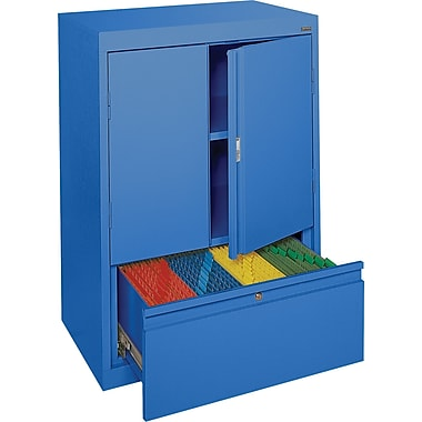Sandusky® Counter-Height Storage Cabinet with File Drawer, Blue