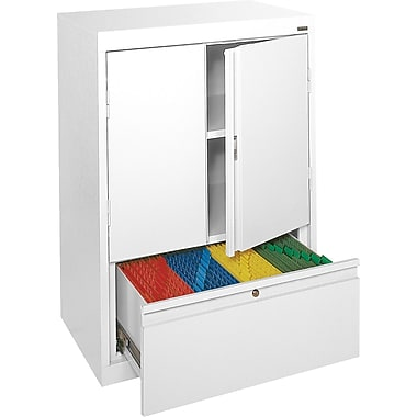 Sandusky® Counter-Height Storage Cabinet with File Drawer, White