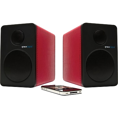 Grace Digital GDI-BTSP207 - aptX Powered Bookshelf Bluetooth Speakers, Red