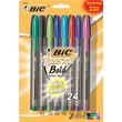 BIC® Cristal® Ballpoint Stick Pens, Bold Point, Assorted Fashion Colors, 24/Box