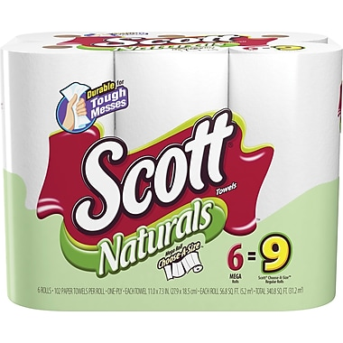 Scott Naturals Choose-A-Size Mega Roll Paper Towels, 1-Ply, 6 Rolls/Pack
