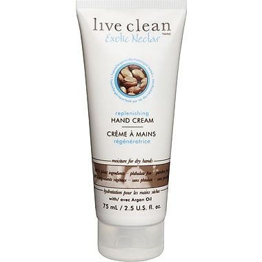 Live Clean™ Moisturizing Hand Cream with Argan Oil, Exotic Nectar Scent, 75 mL