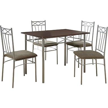 Monarch 5 Piece Dining Set, Cappuccino / Silver Metal