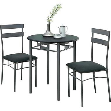 Monarch Metal 3 Piece Dining Set, Black/Silver