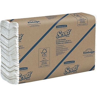 Scott® C-Fold Paper Towels, White, 1-Ply, 2,400/Case