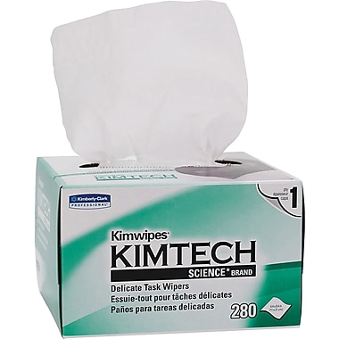 Kimberly-Clark® Kimtech Science® Kimwipes® Task Wipe, Unscented, White, 8.4in.(W) x 4.4in.(L), 30/Ctn