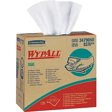 Wypall X60 Hydroknit Wipe, Unscented, White, 16.8in.(W) x 9.1in.(L)