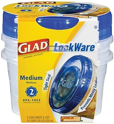 Glad Plastic Entree Containers with Lids Clear Blue 5 Pack 25 oz.
