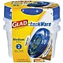 Glad® Plastic Entree Containers with Lids, Clear/Blue,
