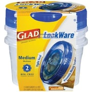 Glad® Plastic Entree Containers with Lids, Clear/Blue, 5/Pack, 25 oz.