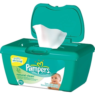 Pampers® Baby Wipes Natural Clean™, Unscented, 72 Wipes/Tub