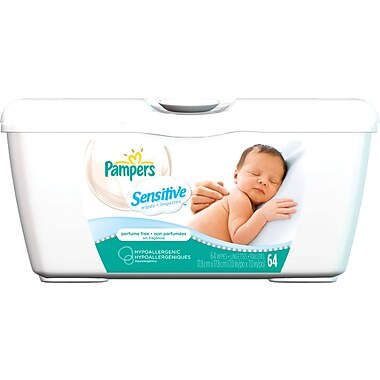 Pampers® Sensitive Baby Wipes, Perfume Free, 64 Wipes/Tub