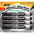 BIC® Magic Marker® Dry-Erase Markers, Tank Style, Black, 4/Pack