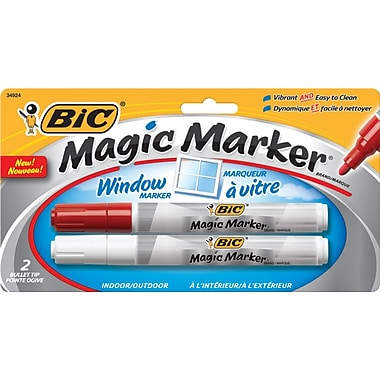 BIC® Magic Marker® Brand Window Marker, Bullet Tip, Red and White, 2/Pack