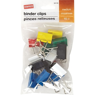 Staples® Binder Clip Med 15 PK Assorted - Core