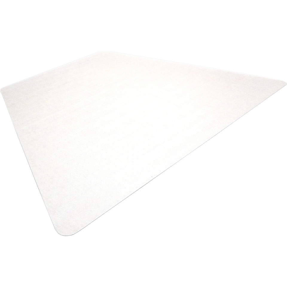 Floortex ClearTex Ultimat Clear Polycarbonate Chair Mats For Hard Floors, Trapezoid, 48x60