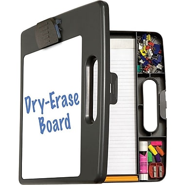 Portable Dry-Erase Clipboard Case, Charcoal, 12in.W x 2 1/4in.D x 13 1/8in.H