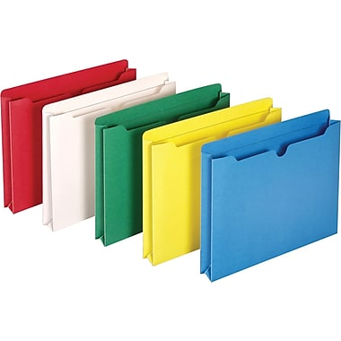 Staples® Colored File Jackets, Letter, 1 1/2in. Expansion, Assorted Colors