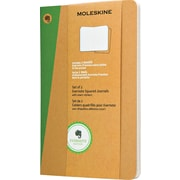 "Moleskine Evernote Journal with Smart Stickers, Large, Squared, Kraft, Soft Cover, 5"" x 8-1/4"", Set of 2"