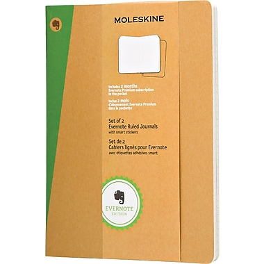 Moleskine Evernote Journal with Smart Stickers, Extra Large, Ruled, Kraft, Soft Cover, 7-1/2