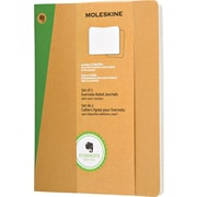 """Moleskine Evernote Journal with Smart Stickers, Extra Large, Ruled, Kraft, Soft Cover, 7-1/2"""" x 9-3/4"""", Set of 2"""