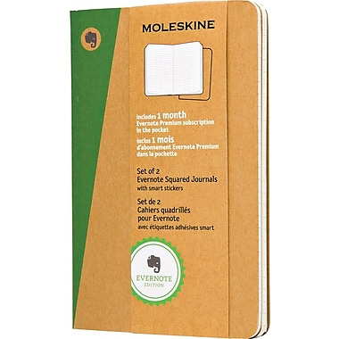 Moleskine Evernote Pocket Soft Cover Journals with Smart Stickers, Square Ruled, 3-1/2in. x 5-1/2in., 2/Pack