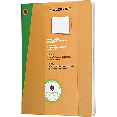 Moleskine Evernote Journal with Smart Stickers, Extra Large, Squared, Kraft, Soft Cover, 7-1/2in. x 9-3/4in., Set of 2