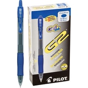 Pilot G2 Premium Retractable Gel Roller Pens, Fine Point, Blue, 12/Pack (31021)