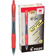 Pilot G2 Premium Retractable Gel Roller Pens, Fine Point, Red, 12/Pack (31022)