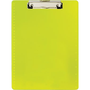 OIC® Transparent Plastic Clipboard, Letter, Neon Yellow, 8 1/2