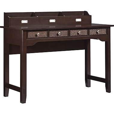 INSPIRED by Bassett Cain Writing Desk with Hutch, Tahiti Brown Finish