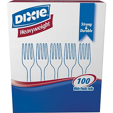 Dixie Heavyweight Plastic Forks, White, 100/Pack (FH207)