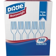 Dixie® Heavy Weight Plastic Forks, White, 100/Pack