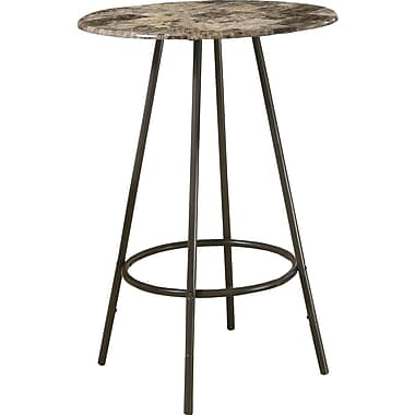 Monarch Marble/Coffee Metal Home Bar Table, Cappuccino