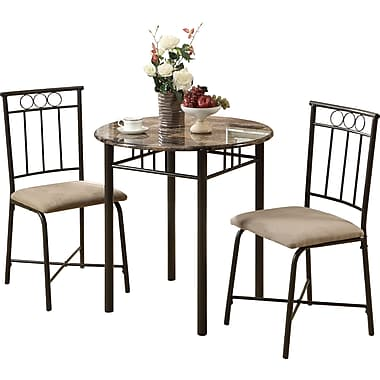 Monarch 3 Piece Bistro Set, Cappuccino Marble/Bronze