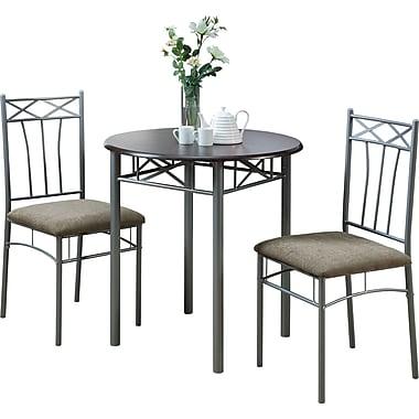 Monarch Metal 3 Piece Dining Set, Cappuccino/Silver
