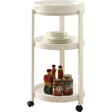 Monarch Home Bar Cart With A Serving Tray On Castors, White