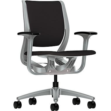 HON Purpose Task/Computer Chair for Office and Computer Desks, Platinum Frame, Black