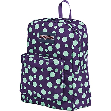 Jansport Superbreak Backpack, Purple Night/Mint Dots