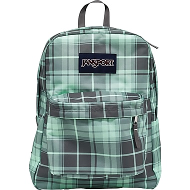 Jansport Superbreak Backpack, Forge Grey/Green Plaid