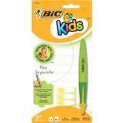BIC® Kids Retractable Ballpoint Pen, Green Barrel with Yellow Accents, Medium Point,  Each