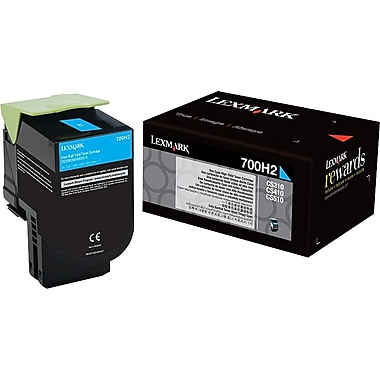 Lexmark 700H2 Cyan Toner Cartridge (70C0H20), High Yield